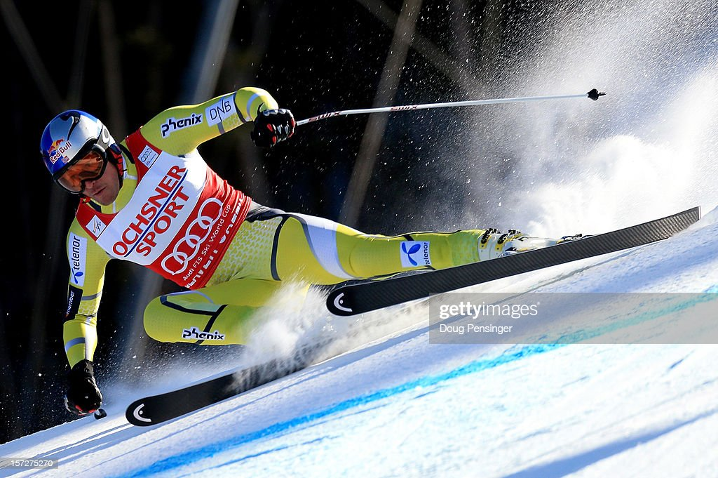 <a gi-track='captionPersonalityLinkClicked' href=/galleries/search?phrase=Aksel+Lund+Svindal&family=editorial&specificpeople=227957 ng-click='$event.stopPropagation()'>Aksel Lund Svindal</a> of Norway skis to second place in the men's Super G on the Birds of Prey at the Audi FIS World Cup on December 1, 2012 in Beaver Creek, Colorado.
