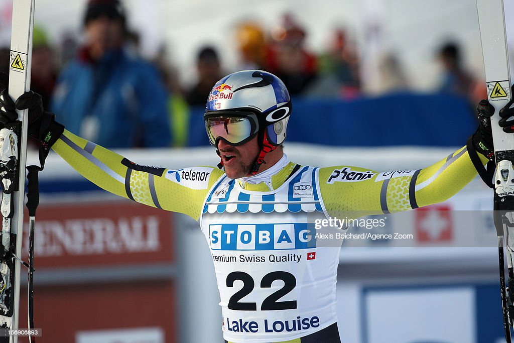 <a gi-track='captionPersonalityLinkClicked' href=/galleries/search?phrase=Aksel+Lund+Svindal&family=editorial&specificpeople=227957 ng-click='$event.stopPropagation()'>Aksel Lund Svindal</a> of Norway takes 1st place competes during the Audi FIS Alpine Ski World Cup Men's Downhill on November 24, 2012 in Lake Louise, Alberta, Canada.