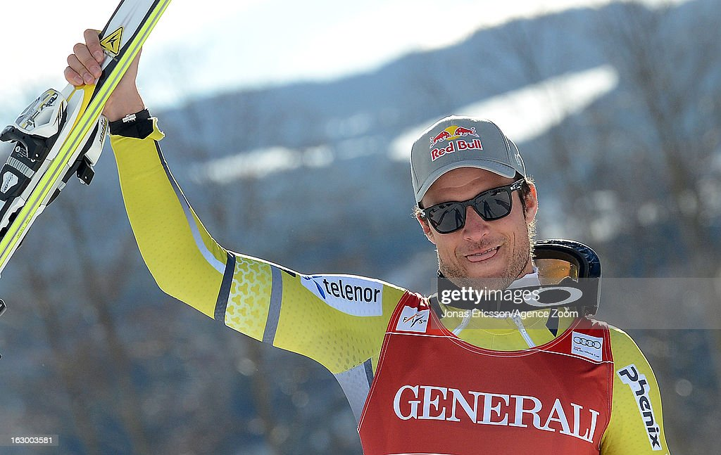 Aksel Lund Svindal of Norway takes 1st place during the Audi FIS Alpine Ski World Cup Men's SuperG on March 3, 2013 in Kvitfjell, Norway.