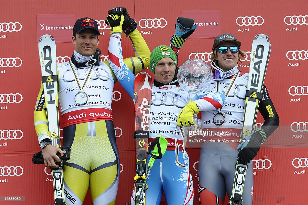 Aksel Lund Svindal of Norway takes 2nd place in the overall World Cup, Marcel Hirscher of Austria wins the Overall World Cup, Ted Ligety of the USA takes 3rd place in the overall World Cup during the Audi FIS Alpine Ski World Cup Finals March 17, 2013 in Lenzerheide, Switzerland.