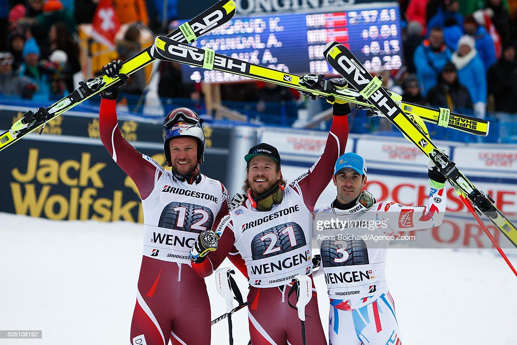 <a gi-track='captionPersonalityLinkClicked' href=/galleries/search?phrase=Aksel+Lund+Svindal&family=editorial&specificpeople=227957 ng-click='$event.stopPropagation()'>Aksel Lund Svindal</a> of Norway takes 2nd place, <a gi-track='captionPersonalityLinkClicked' href=/galleries/search?phrase=Kjetil+Jansrud&family=editorial&specificpeople=816480 ng-click='$event.stopPropagation()'>Kjetil Jansrud</a> of Norway takes 1st place, <a gi-track='captionPersonalityLinkClicked' href=/galleries/search?phrase=Adrien+Theaux&family=editorial&specificpeople=2138351 ng-click='$event.stopPropagation()'>Adrien Theaux</a> of France takes 3rd place during the Audi FIS Alpine Ski World Cup Men's Super Combined on January 15, 2016 in Wengen, Switzerland.