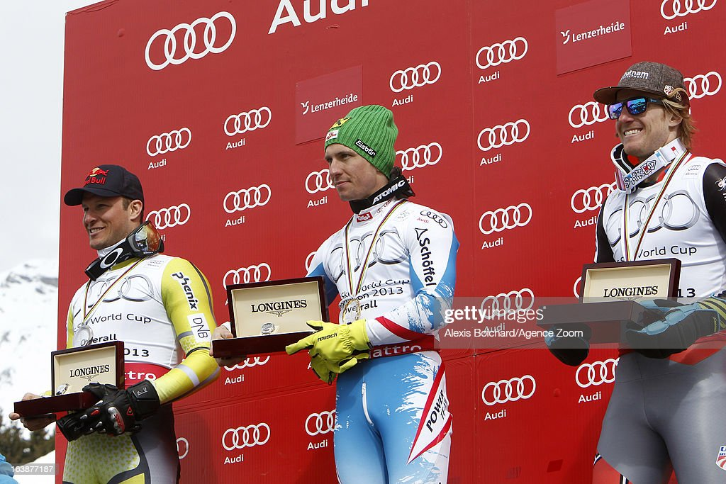 Aksel Lund Svindal of Norway takes 2nd place, Marcel Hirscher of Austria wins the Overall World Cup, Ted Ligety of the USA takes 3rd place in the overall World Cup during the Audi FIS Alpine Ski World Cup Finals March 17, 2013 in Lenzerheide, Switzerland.