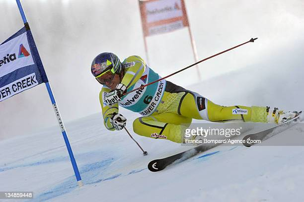 Aksel lund Svindal of Norway takes 9th place during the Audi FIS Alpine Ski World Cup Men's Giant Slalom on December 4 2011 in Beaver Creek Colorado