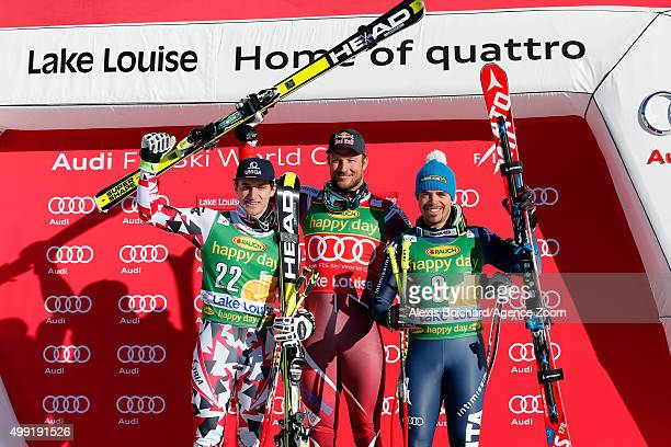 Aksel Lund Svindal of Norway takes the 1st placeMatthias Mayer of Austria takes the 2nd placePeter Fill of Italy takes the 3rd place during the Audi...