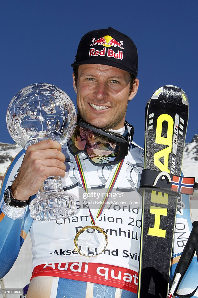 <a gi-track='captionPersonalityLinkClicked' href=/galleries/search?phrase=Aksel+Lund+Svindal&family=editorial&specificpeople=227957 ng-click='$event.stopPropagation()'>Aksel Lund Svindal</a> of Norway wins the overall downhill World Cup globe during the Audi FIS Alpine Ski World Cup Finals Men's Downhill on March 12, 2014 in Lenzerheide, Switzerland.