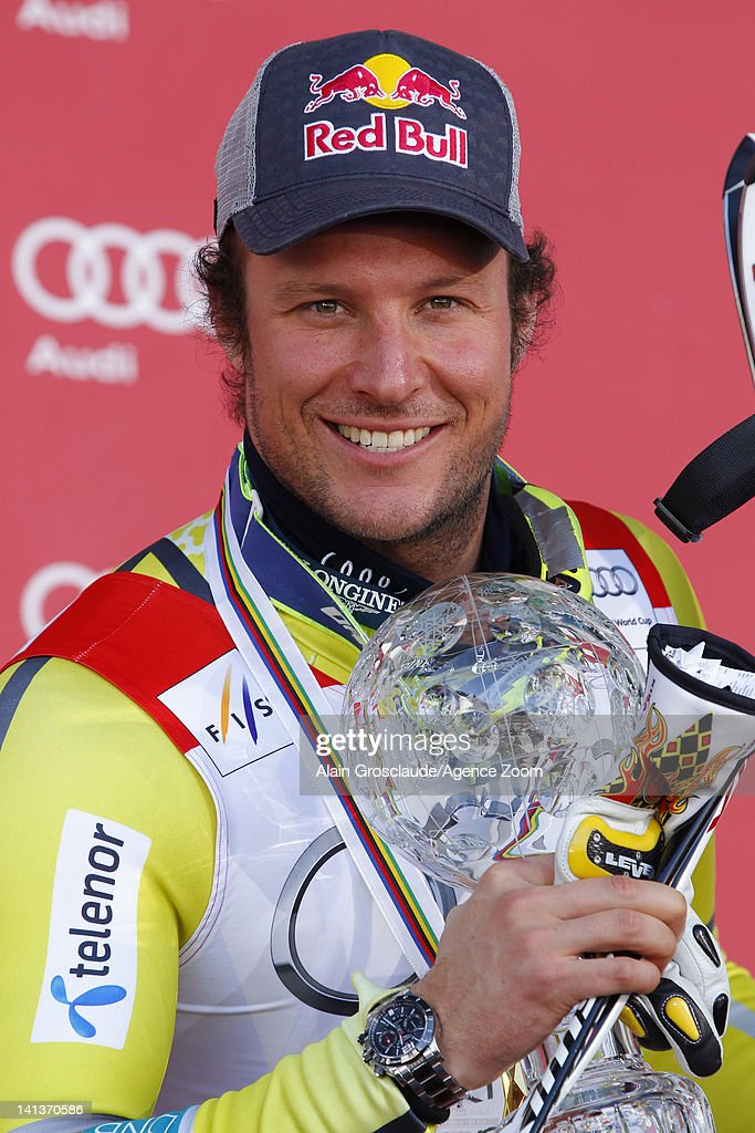 <a gi-track='captionPersonalityLinkClicked' href=/galleries/search?phrase=Aksel+Lund+Svindal&family=editorial&specificpeople=227957 ng-click='$event.stopPropagation()'>Aksel Lund Svindal</a> of Norway wins the Overall World Cup SuperG globe during the Audi FIS Alpine Ski World Cup Men's SuperG on March 15, 2012 in Schladming, Austria.