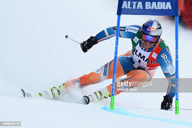 AkselLund Svindal of Norway races down the course whilst competing in the FIS Alpine World Cup giant Slalom race on December 22 2013 in Alta Badia...