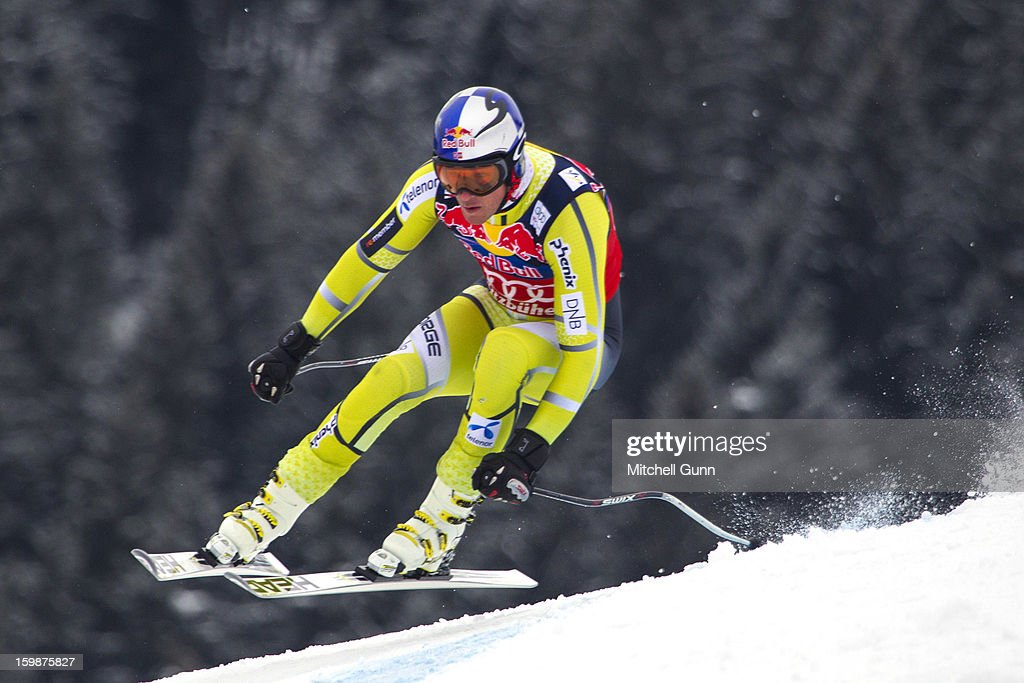Aksel-Lund Svindal of Norway races down the Hahnenkamm Race Course during the Audi FIS Alpine Ski World Cup Downhill first official training session on January 22, 2013 in Kitzbuhel, Austria,