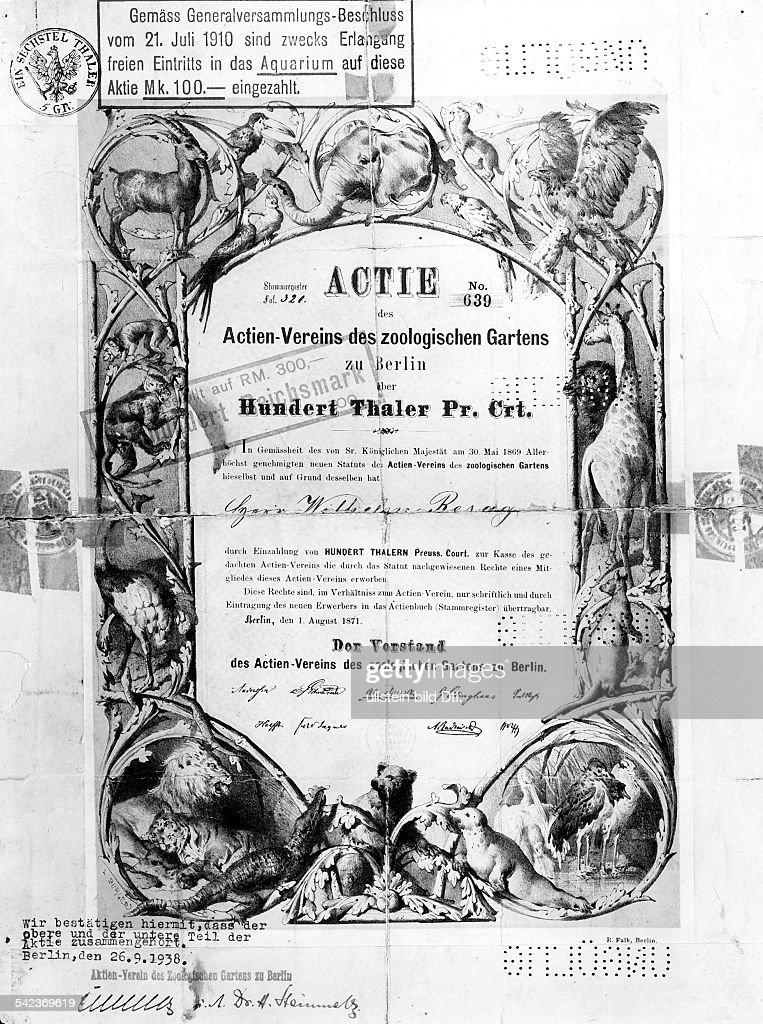 Aktie des Actienvereins des zoologischenGartens zu Berlin über 100 Taler aus demJahre 1871
