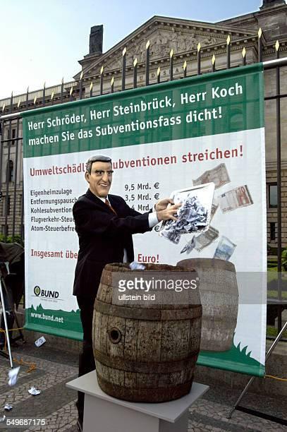 'Subventionsfass dicht machen Umweltschädliche Subventionen abbauen' Mitarbeiter des Bund für Umwelt und Naturschutz Deutschland ein Fass vor dem...