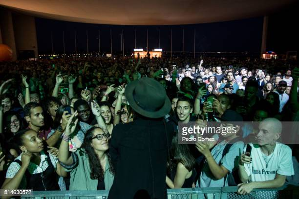 Akua Naru sings close to the fans on EDP stage at day 2 of Super Bock Super Rock festival on July 14 2017 in Lisbon Portugal