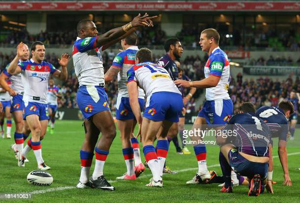 Akuila Uate of the Knights celebrates a try during the NRL Second Semi Final match between the Melbourne Storm and the Newcastle Knights at AAMI Park...