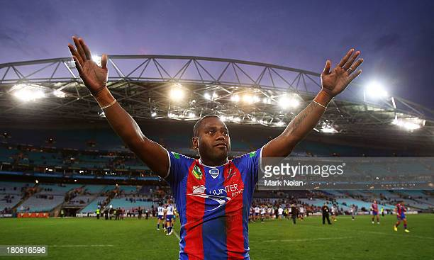 Akuila Uate of the Knights celebrates after winning the NRL Elimination Final match between the Canterbury Bulldogs and the Newcastle Knights at ANZ...