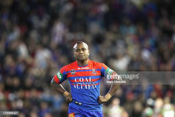 Akuila Uate of the Knights looks on after scoring a try during the round 26 NRL match between the Newcastle Knights and the South Sydney Rabbitohs at...