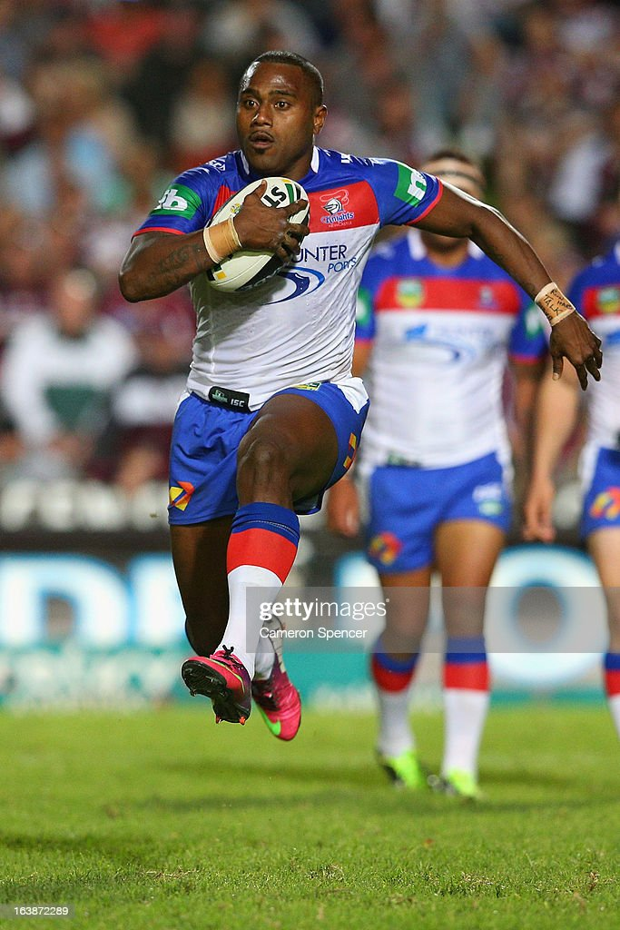 <a gi-track='captionPersonalityLinkClicked' href=/galleries/search?phrase=Akuila+Uate&family=editorial&specificpeople=4892747 ng-click='$event.stopPropagation()'>Akuila Uate</a> of the Knights makes a break during the round two NRL match between the Manly Sea Eagles and the Newcastle Knights at Brookvale Oval on March 17, 2013 in Sydney, Australia.