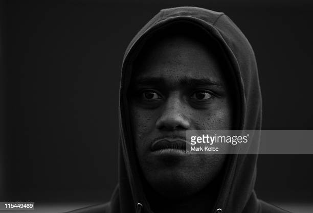 Akuila Uate watches on as he waits to speak to the media during the New South Wales State of Origin team photo session at Sydney Football Stadium on...