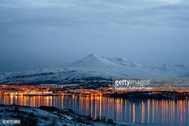Akureyri City View at Sunset in North of Iceland