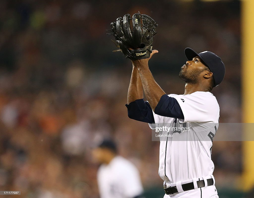 Al Alburquerque #62 of the Detroit Tigers celebrates the final out of the eighth inning during the game against the Boston Red Sox at Comerica Park on June 22, 2013 in Detroit, Michigan. The Tigers defeated the Red Sox 10-3.