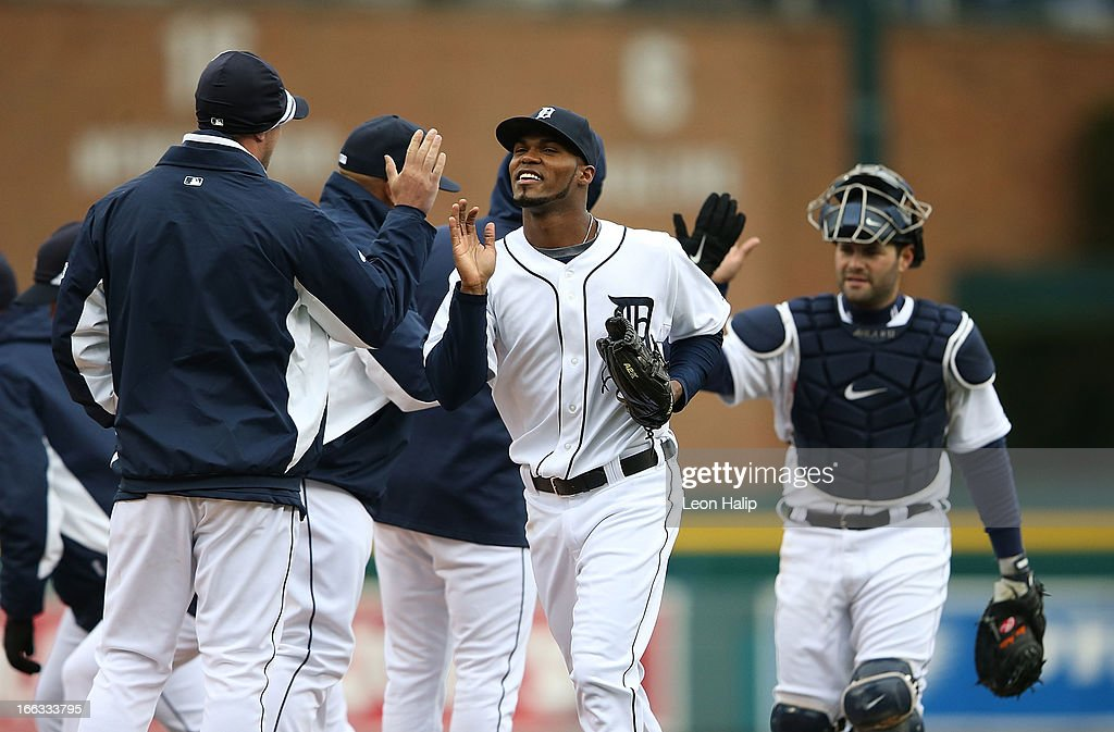 <a gi-track='captionPersonalityLinkClicked' href=/galleries/search?phrase=Al+Alburquerque&family=editorial&specificpeople=6829031 ng-click='$event.stopPropagation()'>Al Alburquerque</a> #62 of the Detroit Tigers celebrates with his team after defeating the Toronto Blue Jays at Comerica Park on April 11, 2013 in Detroit, Michigan. The Tigers defeated the Blue Jays 11-1.