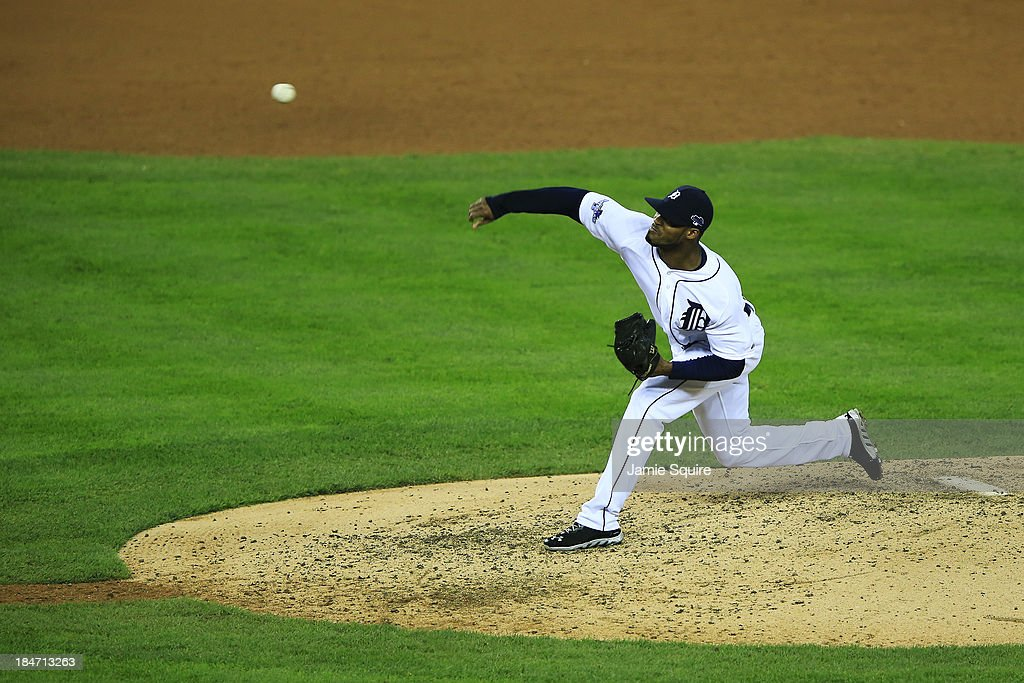 <a gi-track='captionPersonalityLinkClicked' href=/galleries/search?phrase=Al+Alburquerque&family=editorial&specificpeople=6829031 ng-click='$event.stopPropagation()'>Al Alburquerque</a> #62 of the Detroit Tigers pitches against the Boston Red Sox during Game Three of the American League Championship Series at Comerica Park on October 15, 2013 in Detroit, Michigan.