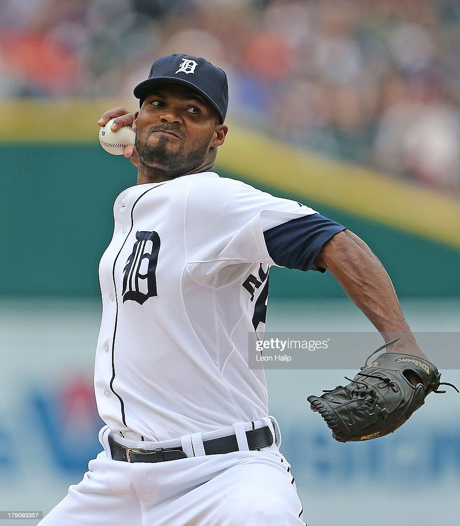 <a gi-track='captionPersonalityLinkClicked' href=/galleries/search?phrase=Al+Alburquerque&family=editorial&specificpeople=6829031 ng-click='$event.stopPropagation()'>Al Alburquerque</a> #62 of the Detroit Tigers pitches in the eighth inning of the game against the Washington Nationals at Comerica Park on July 31, 2013 in Detroit, Michigan. The Tigers defeated the Nationals 11-1.
