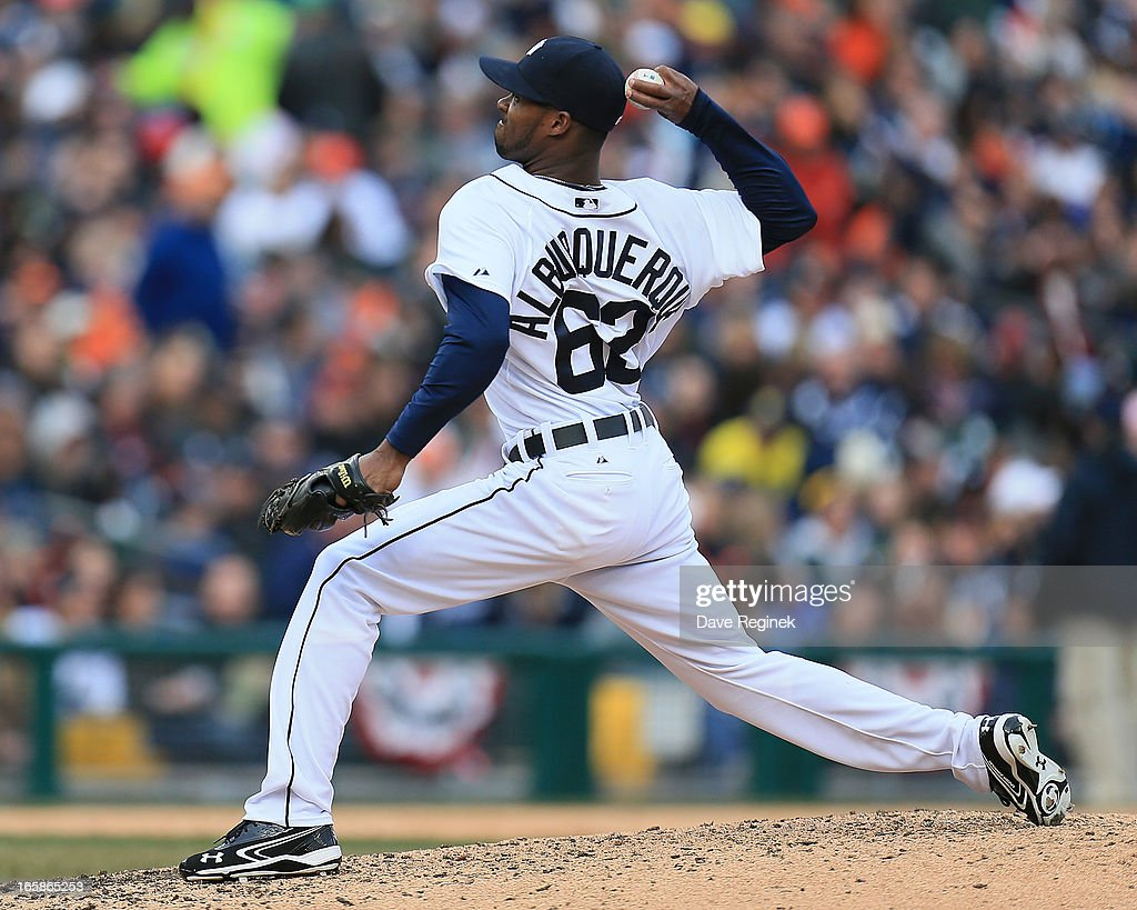 Al Alburquerque #62 of the Detroit Tigers pitches the baseball against the New York Yankees at Comerica Park on April 6, 2013 in Detroit, Michigan.
