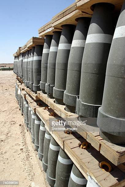 Al Asad, Iraq - Rows of ammunition are stacked and prepped to be moved into modular storage cells.
