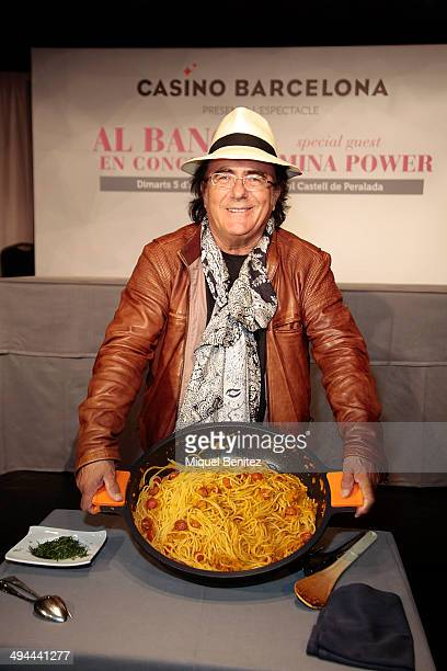 Al Bano presents his cooking spaghetti recipe during the press conference of his new show 'AL BANO in concert special guest ROMINA POWER' at Casino...