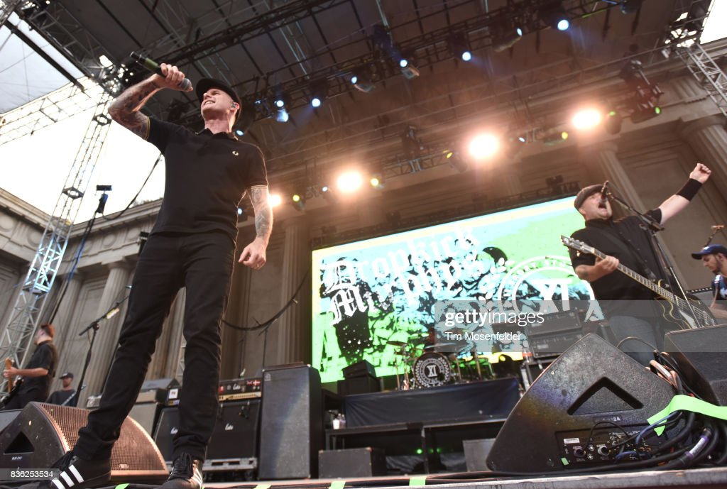 Al Barr (L) and Ken Casey of Dropkick Murphys perform during the 'From Boston to Berkeley' tour at University of California, Berkeley on August 20, 2017 in Berkeley, California.