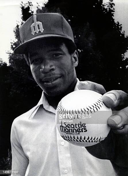 Al Chambers the number one draft pick of the Seattle Mariners holds a baseball with the 'Seattle Mariners' logo on it on June 5 1979 in Harrisburg...