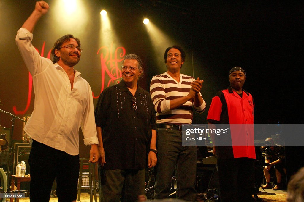 Al Di Meola Chick Corea Stanley Clarke and Lenny White after their concert on the Return to Forever Tour on May 30th 2008 at the Paramount Theater in...