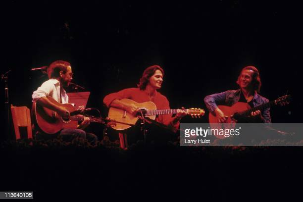 Al Di Meola John McLaughlin and Paco De Lucia performing at the Warfield Theater in San Francisco California on December 6 1980