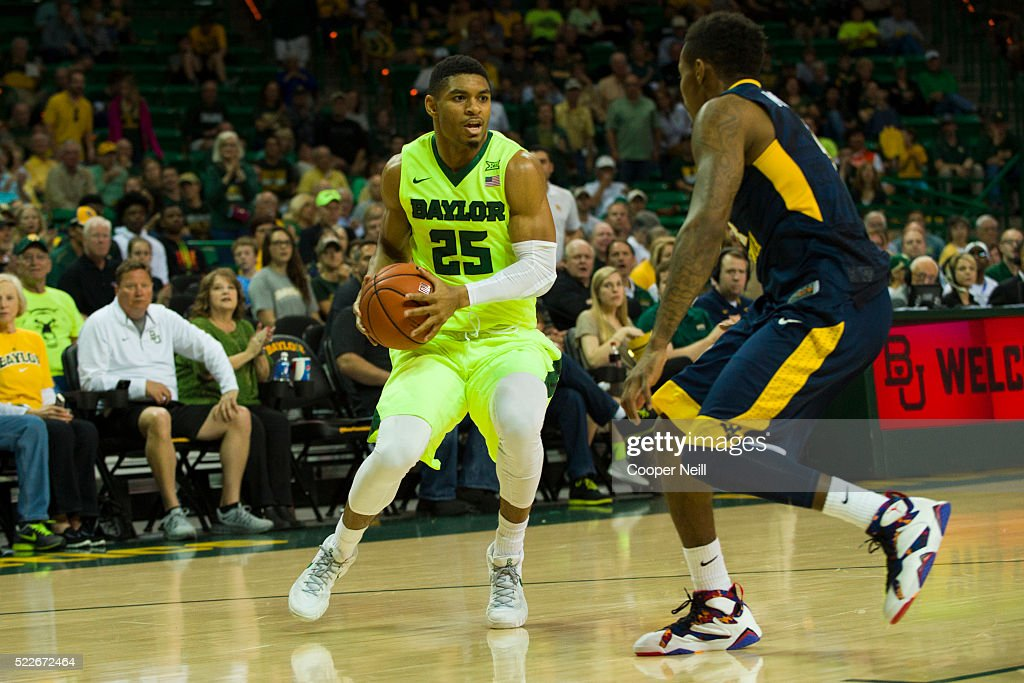 Al Freeman of the Baylor Bears brings the ball up court against the West Virginia Mountaineers on March 5 2016 at the Ferrell Center in Waco Texas