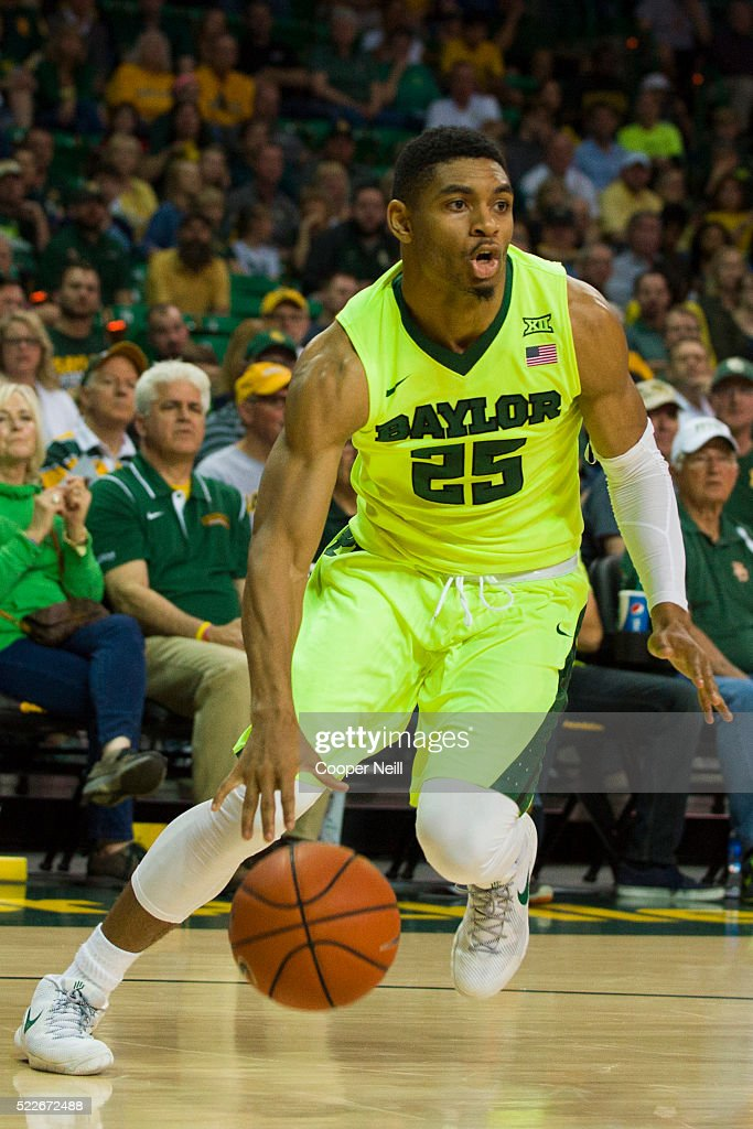 Al Freeman of the Baylor Bears drives to the basket against the West Virginia Mountaineers on March 5 2016 at the Ferrell Center in Waco Texas