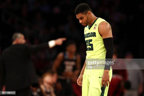 Al Freeman of the Baylor Bears reacts in the second half against the South Carolina Gamecocks during the 2017 NCAA Men's Basketball Tournament East...