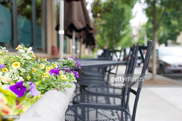 Al Fresco Dining Tables and Chairs with Flowers, Copy Space