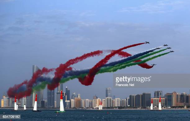 Al Fursan performs during the Red Bull Air Race on February 11 2017 in Abu Dhabi United Arab Emirates