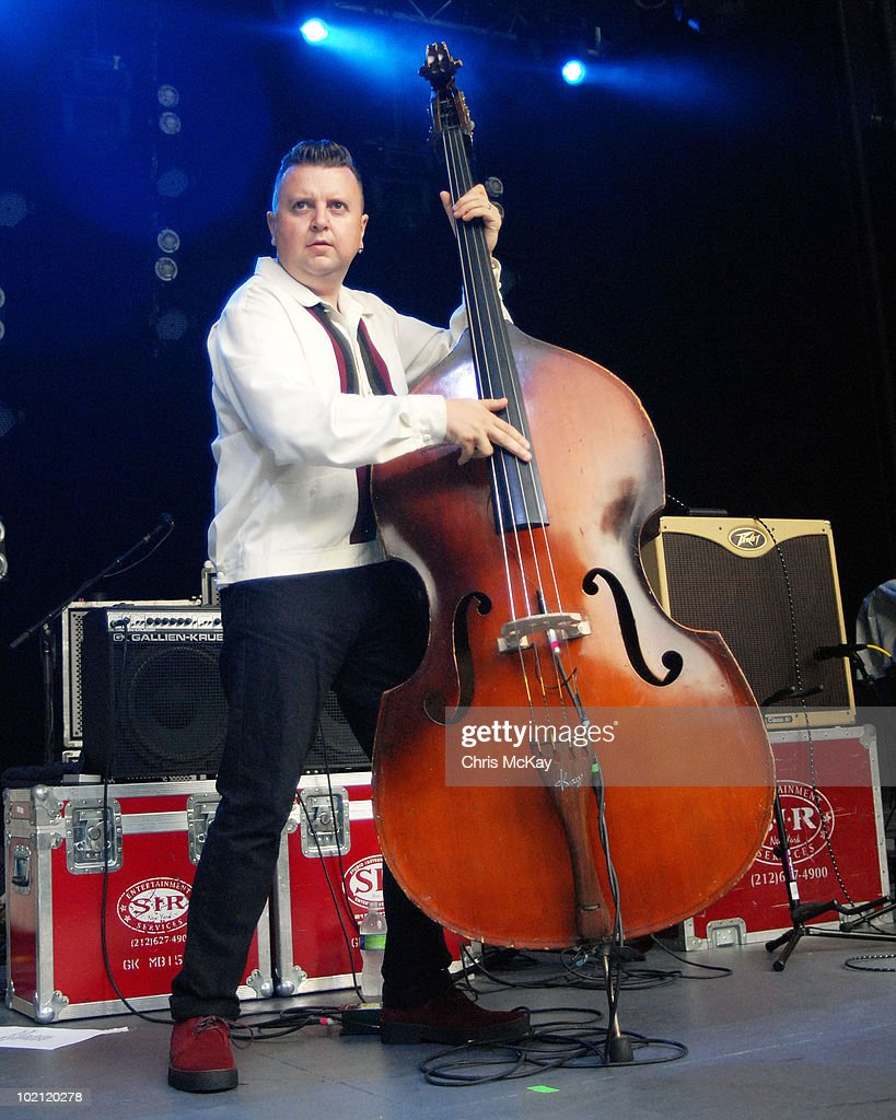 Al Gare performs with Imelda May at Chastain Park Amphitheater on June 11, 2010 in Atlanta, Georgia.