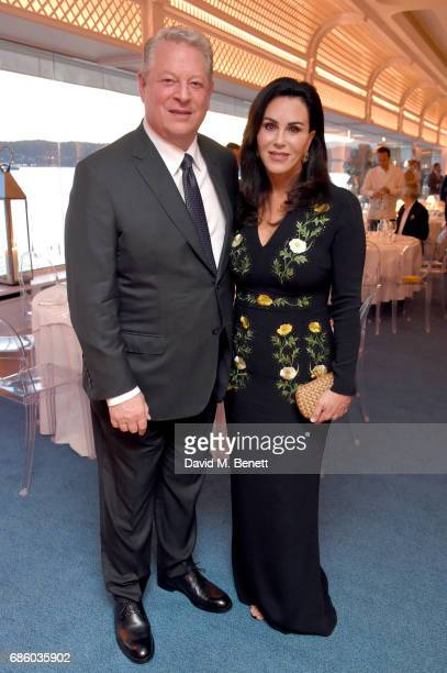 Al Gore and Elizabeth Keadle attend the Vanity Fair and HBO Dinner celebrating the Cannes Film Festival at Hotel du CapEdenRoc on May 20 2017 in Cap...