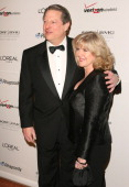 Al Gore and Tipper Gore during 2007 Clive Davis PreGRAMMY Awards Party Arrivals at Beverly Hilton Hotel in Beverly Hills California United States