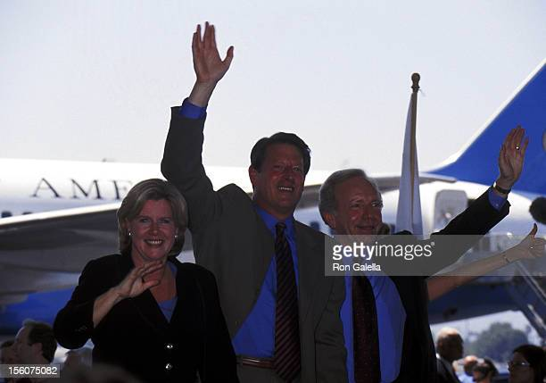 Al Gore Tipper Gore and Joe Lieberman during Press Conference Given by Al Gore Joe Lieberman at Burbank Airport in Burbank California United States