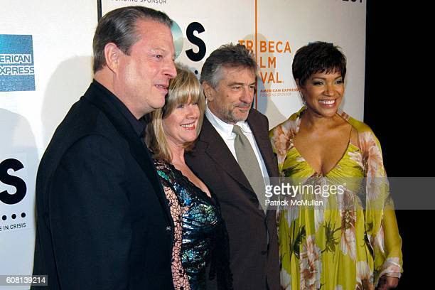 Al Gore Tipper Gore Robert De Niro and Grace Hightower attend Opening of Tribeca Film Festival SOS Short Film Program at BMCC Tribeca PAC on April 25...