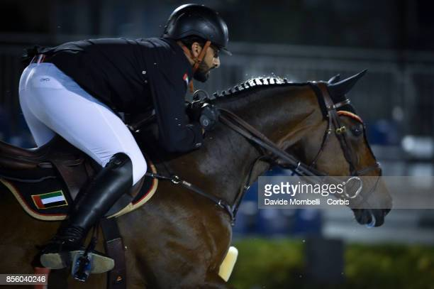 Al Hajri Mohammed Ghanem of United Arab Emirates riding Pour Le Poussage during the Longines FEI Nations Cup Jumping Final Challenge Cup at CSIO...