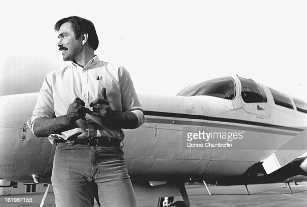 APR 20 1987 Al Halbert of Air Today stands near 'Old Faithful' the twin cessna that was stolen back from drug runners recently