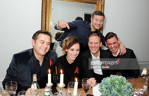 R Al Hall Taylor Dee Koppang Dermot O'Leary Antony Cotton and Peter Eccleston attend a 'Supper Club' dinner hosted by Dermot O'Leary for the Terrence...