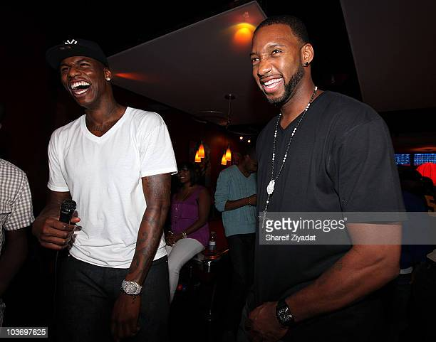 Al Harrington and Tracy McGrady attend the 2010 Celebrity Bowling Tournament Party at Lucky Strike on August 27 2010 in New York City