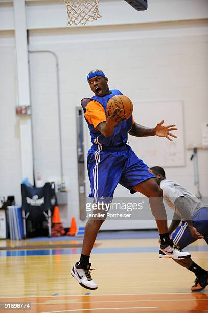 Al Harrington of the New York Knicks grabs a rebound during the New York Knicks practice at their practice facility on October 14 2009 in Tarrytown...