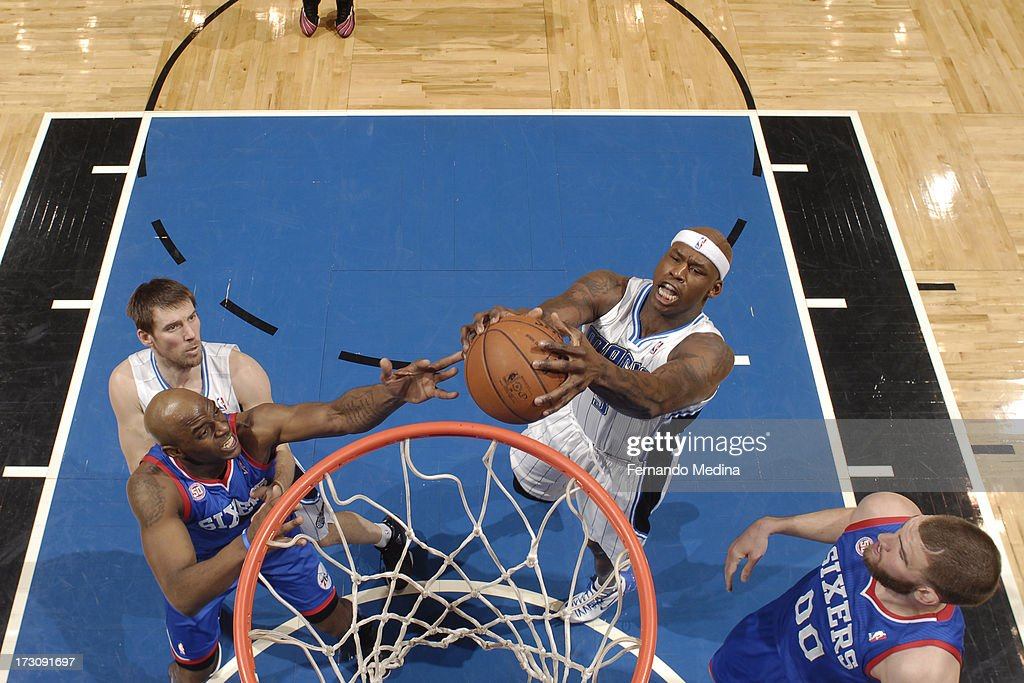 Al Harrington #3 of the Orlando Magic goes to the basket against the Philadelphia 76ers on March 10, 2013 at Amway Center in Orlando, Florida.