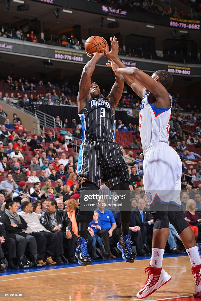 <a gi-track='captionPersonalityLinkClicked' href=/galleries/search?phrase=Al+Harrington&family=editorial&specificpeople=201645 ng-click='$event.stopPropagation()'>Al Harrington</a> #3 of the Orlando Magic takes a shot against the Philadelphia 76ers at the Wells Fargo Center on February 26, 2013 in Philadelphia, Pennsylvania.