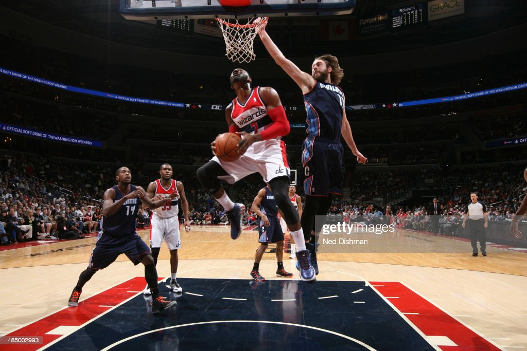 <a gi-track='captionPersonalityLinkClicked' href=/galleries/search?phrase=Al+Harrington&family=editorial&specificpeople=201645 ng-click='$event.stopPropagation()'>Al Harrington</a> #7 of the Washington Wizards goes up for a shot against the Charlotte Bobcats at the Verizon Center on April 9, 2014 in Washington, DC.